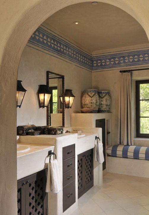 Mediterranean Master Bathroom With Flush Walz Craft Custom Accent Cabinet Door Wood Lattice Flat Panel Cabinets Limestone
