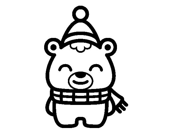 Dibujo de Osito navideo para colorear  Dibujos de Navidad para