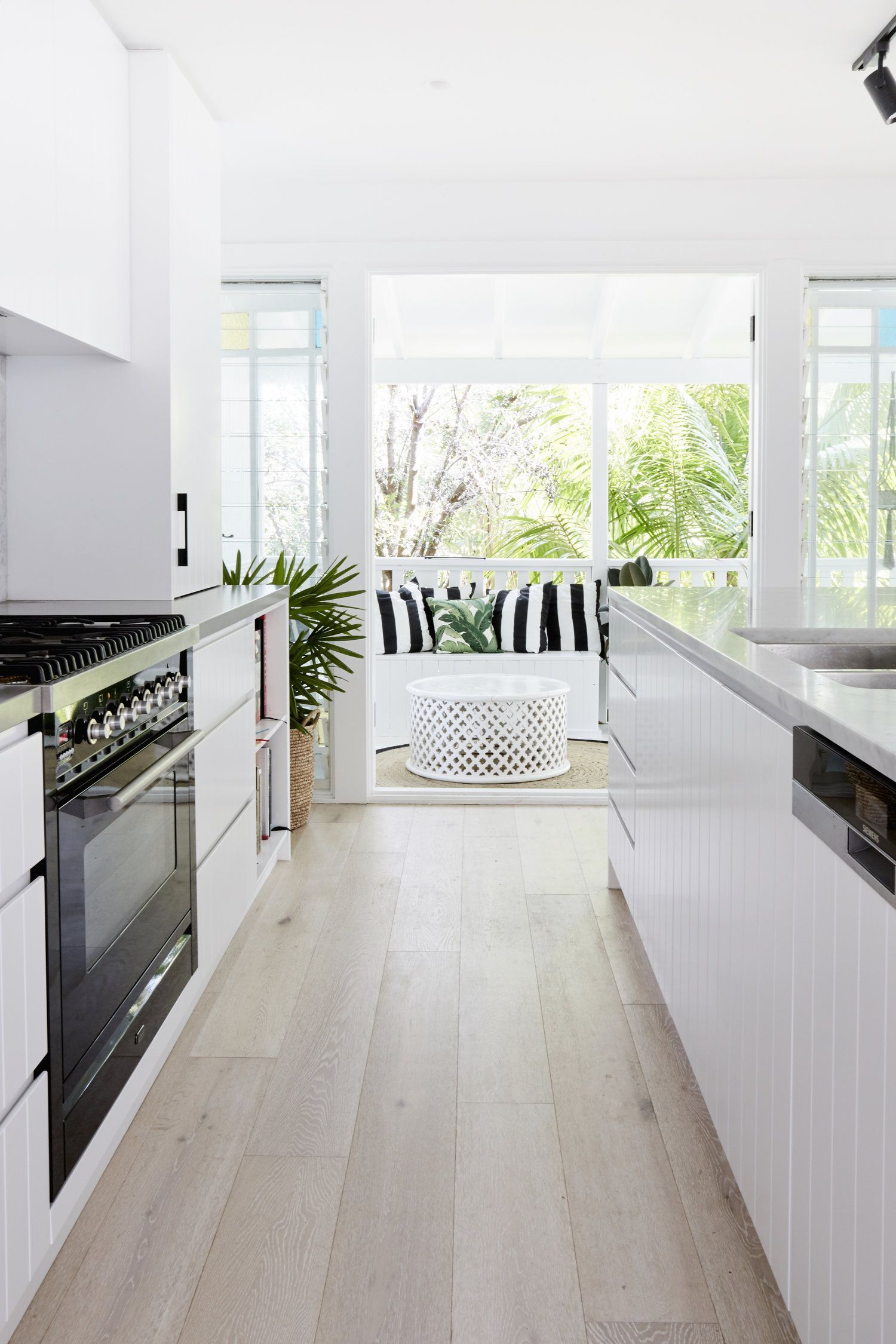 Simple modern kitchen light and airy black white bold cushions timber flooring also best designs ideas for small house decoration rh pinterest