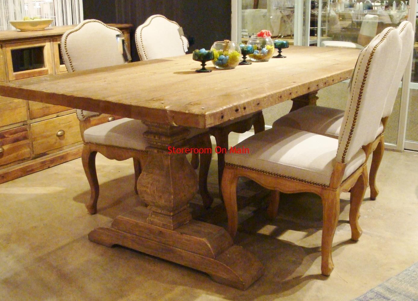 Bleached Pine Reclaimed Wood Trestle Dining Table Ebay Trestle