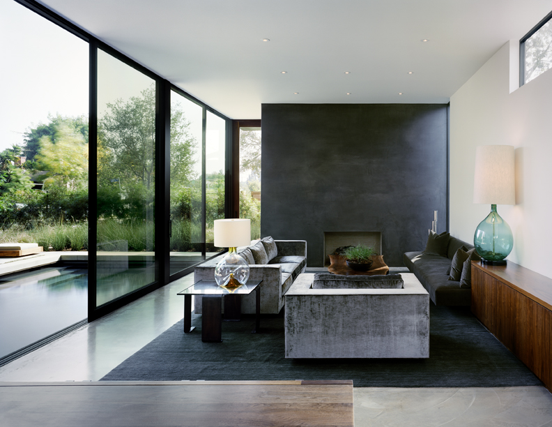 Apartments allison burke concrete design ideas grey marble flooring black rug area dark gray sofa