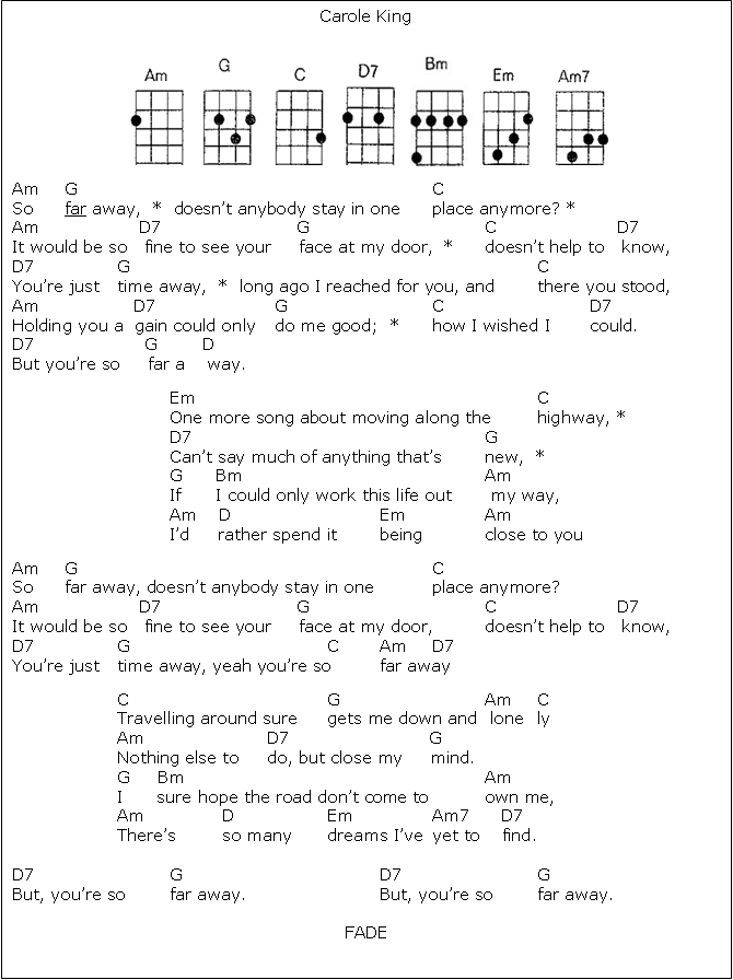 So Far Away Ukulele Chords Images Chord Chart Guitar Complete