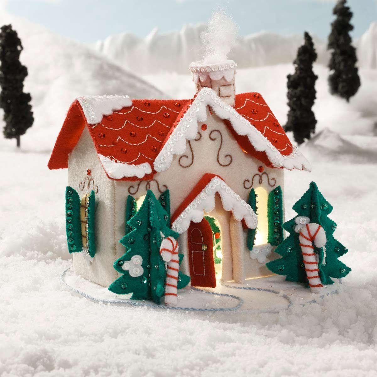 Photo of Bucilla Christmas Village Lighted Felt 3D Holiday Scene House Craft Kit 86960E