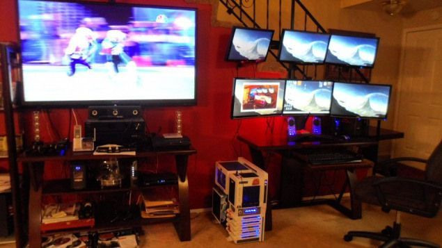 Photo of Rob Schatz's #Gaming setup #recreationalroom #recreational #room #cabinets,  #Cabinets #Gamin…