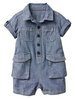 Chambray cargo one-piece, add some baby mocs.