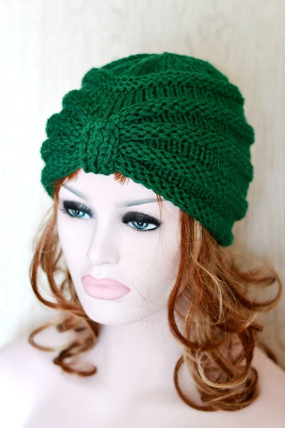 Bottle Green Knitted Turban Hat, Chunky Knit, Knit Hat, UK Hats ...