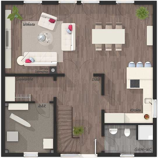 Die Stadtvilla 145 Elegance Grundriss Erdgeschoss
