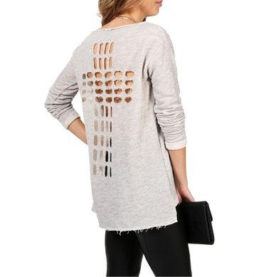 Grey Cross Back Sweater