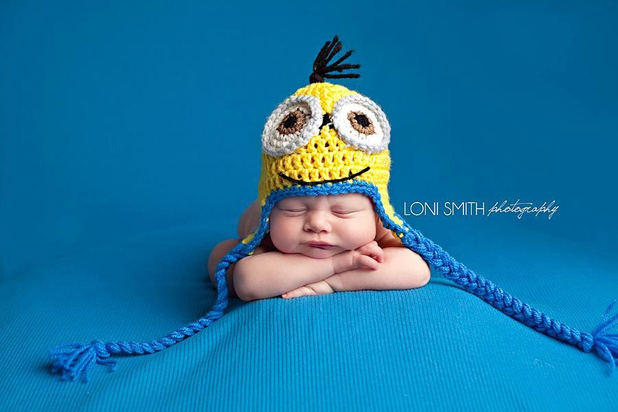 In love with this!! Baby Minion Ear Flaps Hat Crochet Newborn NB ...