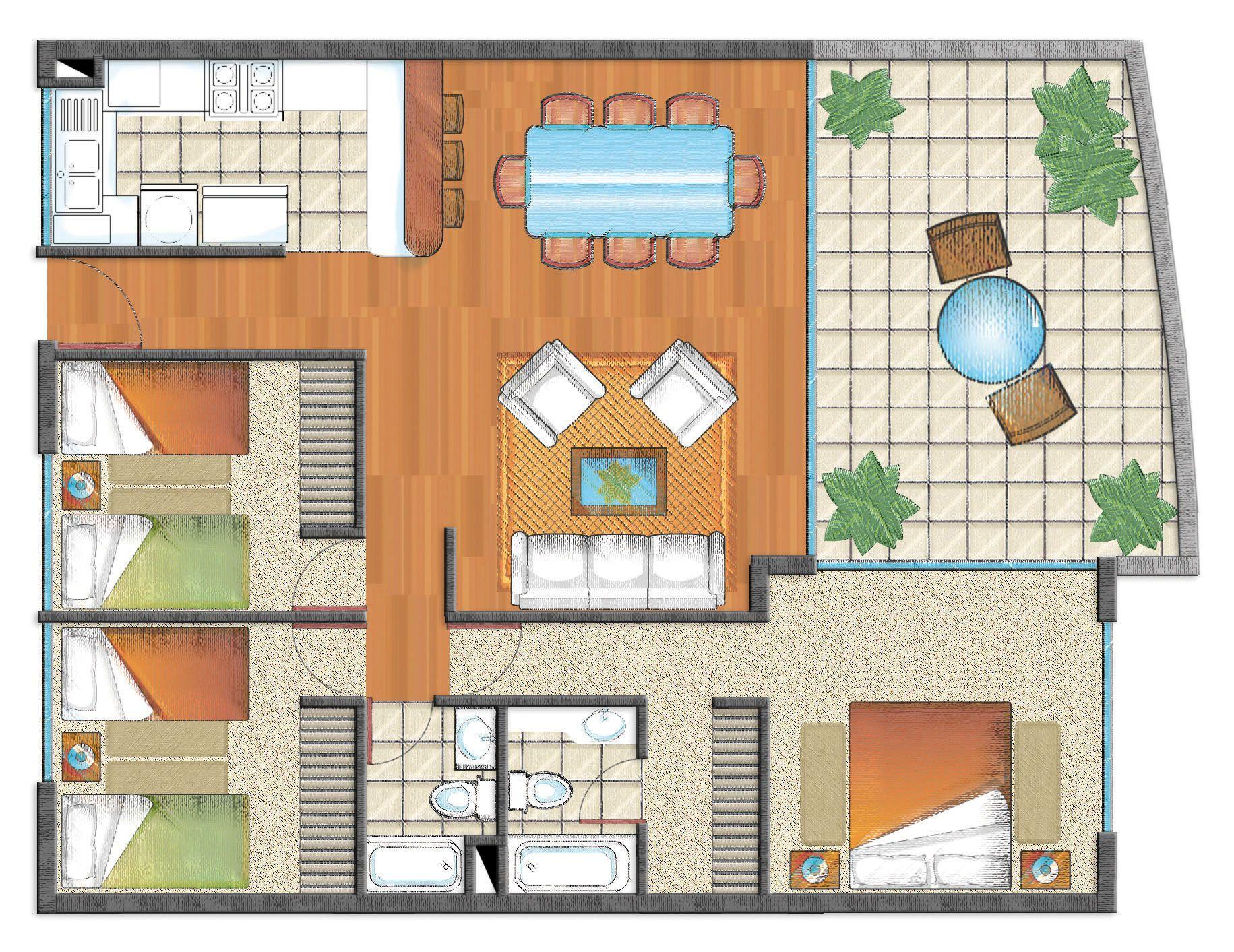 Plano De Casa De 1 Piso Con 3 Dormitorios 2 Banos Cocina Americana Y Piscina Buscar Con Google Planos De Casas Casas De 1 Piso Casas