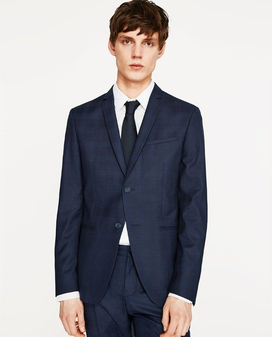 Image 2 of BLUE CHECK BLAZER from Zara Slim Fit Jackets 6cba8cf6bb6ca
