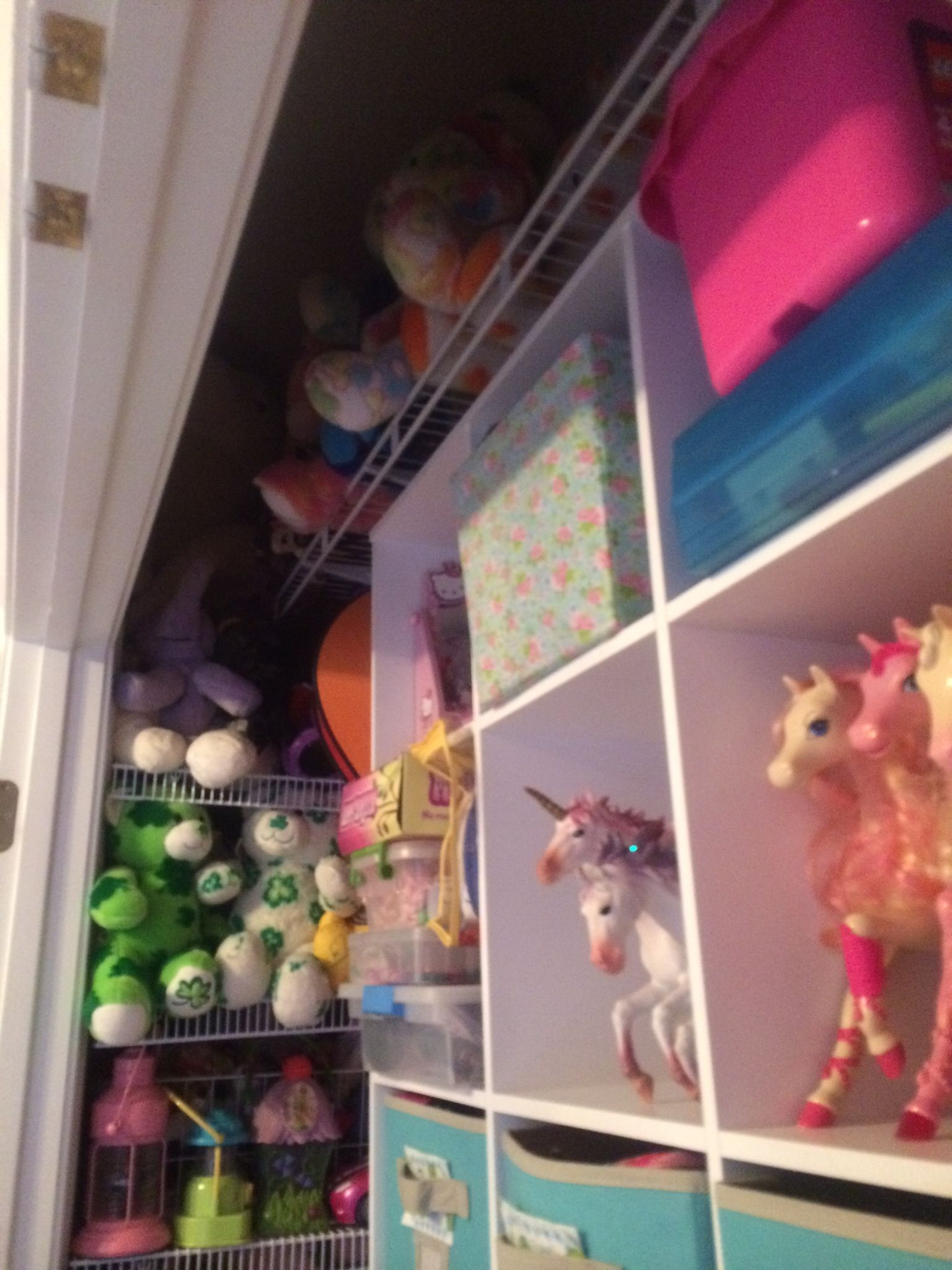 """Left side has 20"""" deep shelving with close wires to hold lots of small toys. Mounted on left wall rather than back wall uses all space in corner."""