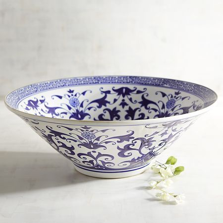 Blue & White Ceramic Decorative Bowl