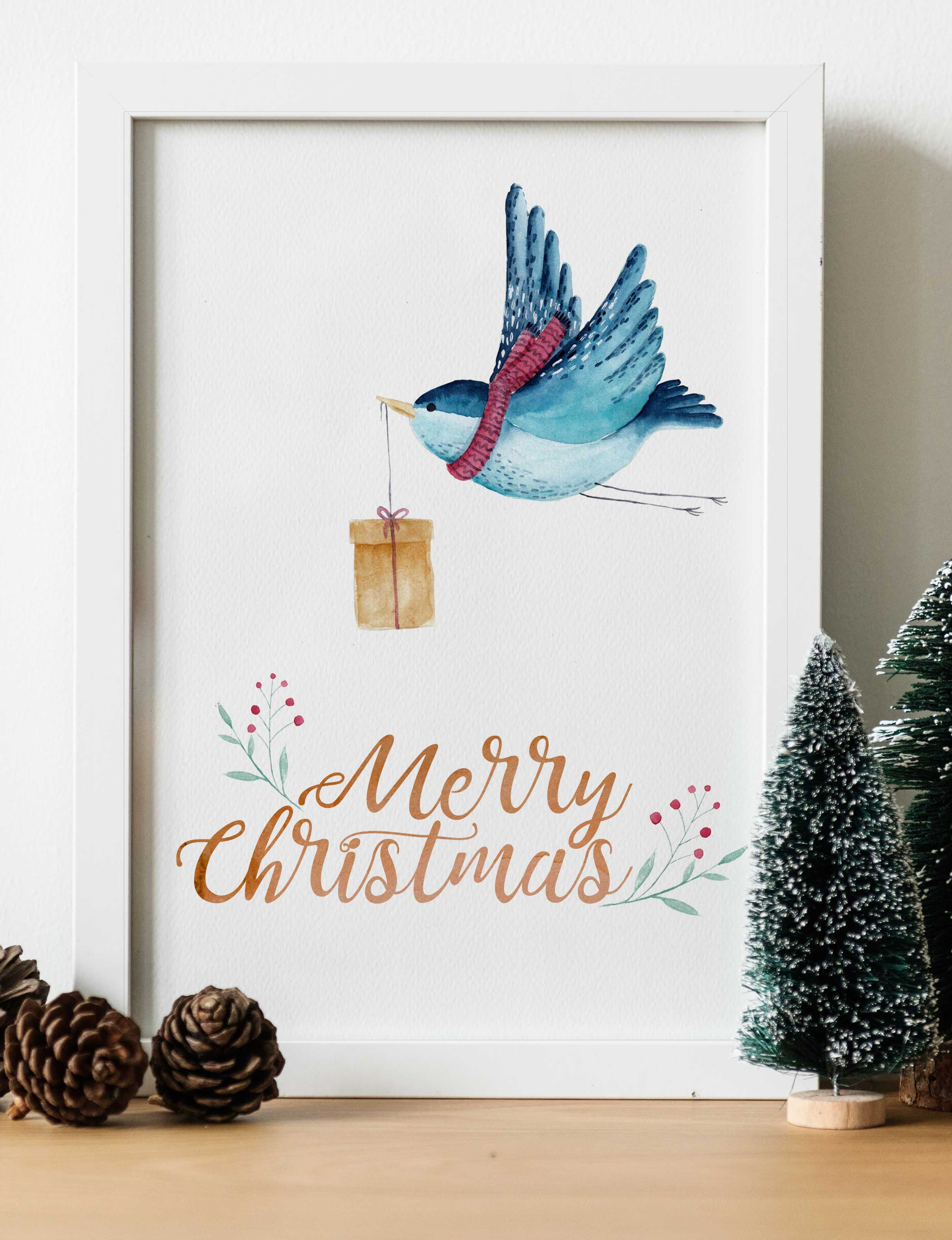 Cute Blue Bird With A Gift Will Be Great Christmas Decor Addition Decorate Your Living Room Or Office This Festive Wall Art