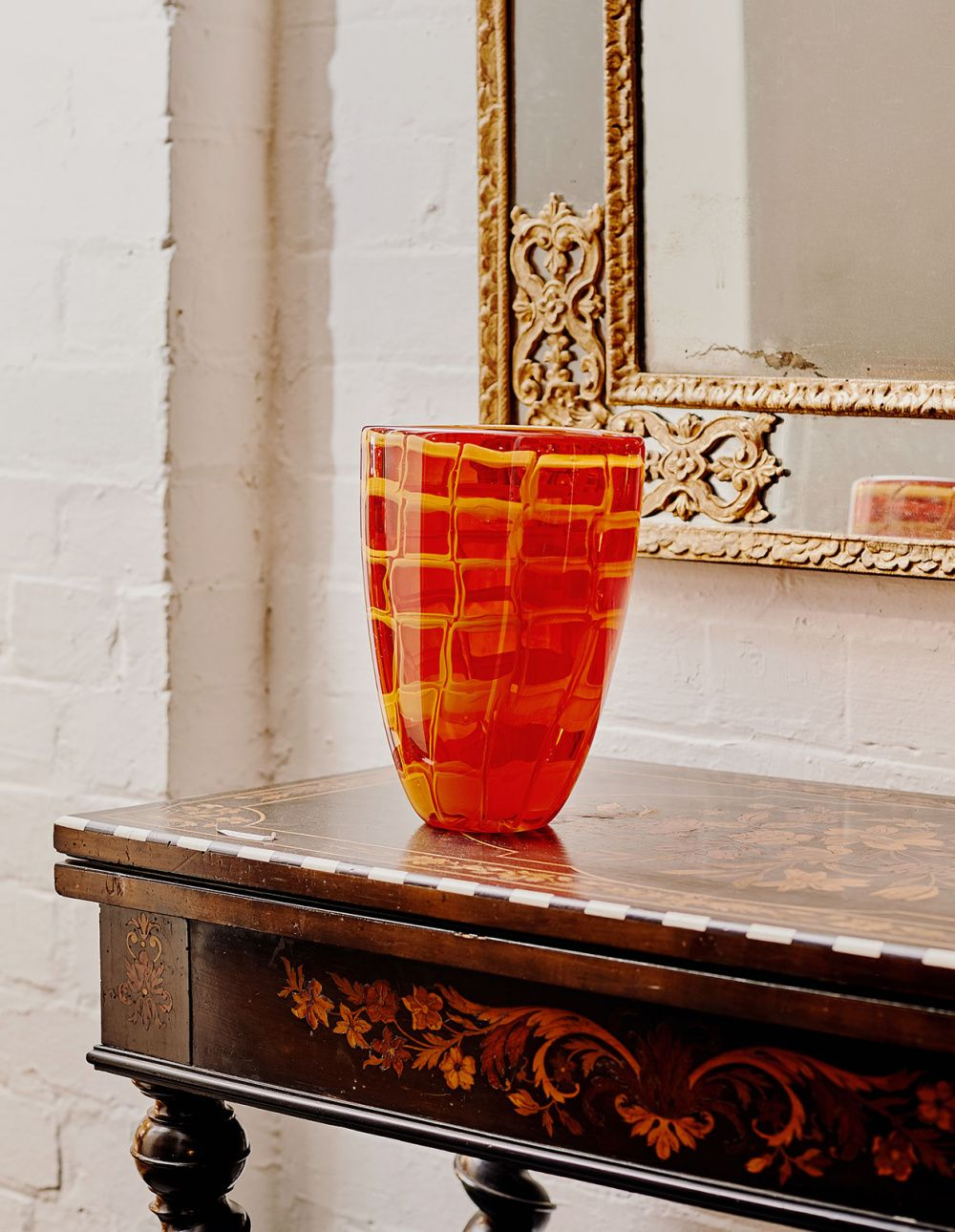 Art objects amongst antiques from master glass artist mark
