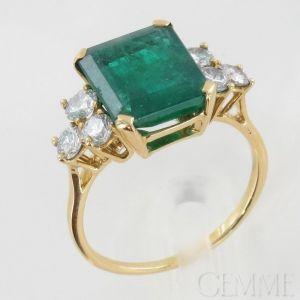 bague or jaune diamant et emeraude