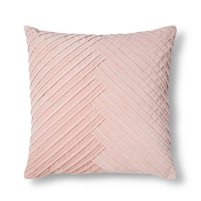 Blush Pleated Velvet Throw Pillow Fieldcrest Blush Throw