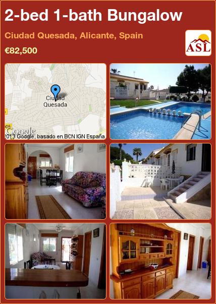 2-bed 1-bath Bungalow in Ciudad Quesada, Alicante, Spain ►€82,500 #PropertyForSaleInSpain
