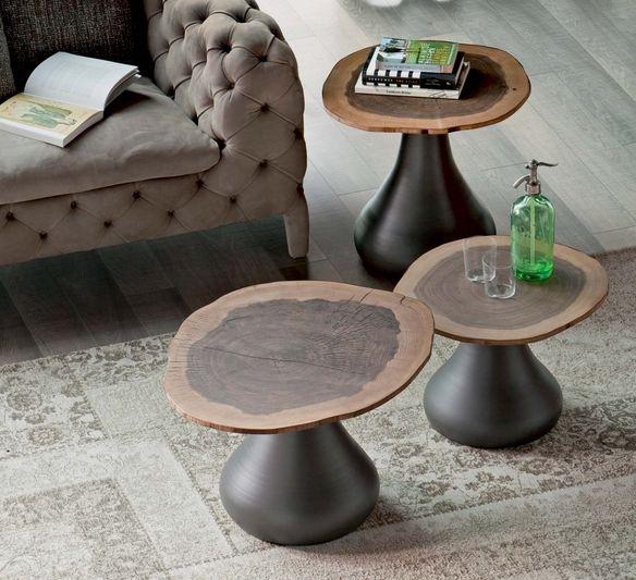design couchtische holz baumstamm tischplatte sofa beistelltische ...