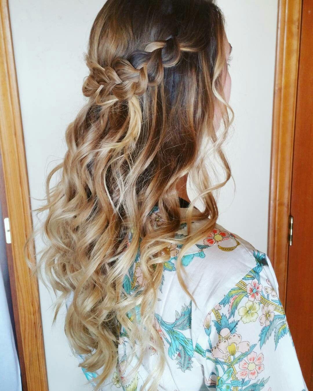 Boho braided wedding hairstyles wavy curls braided half up half