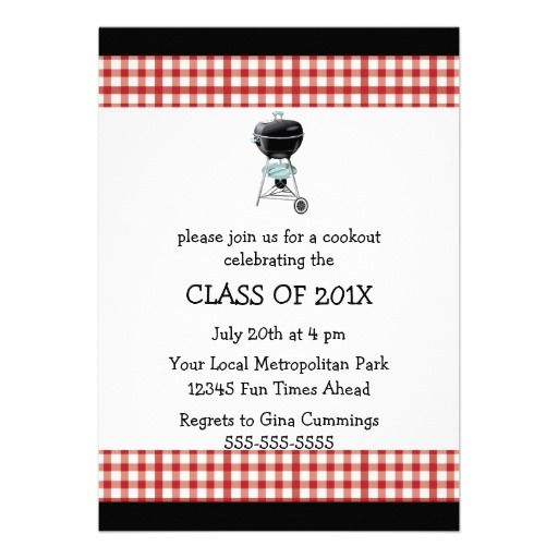 Cookout Grill Graduation Invitation