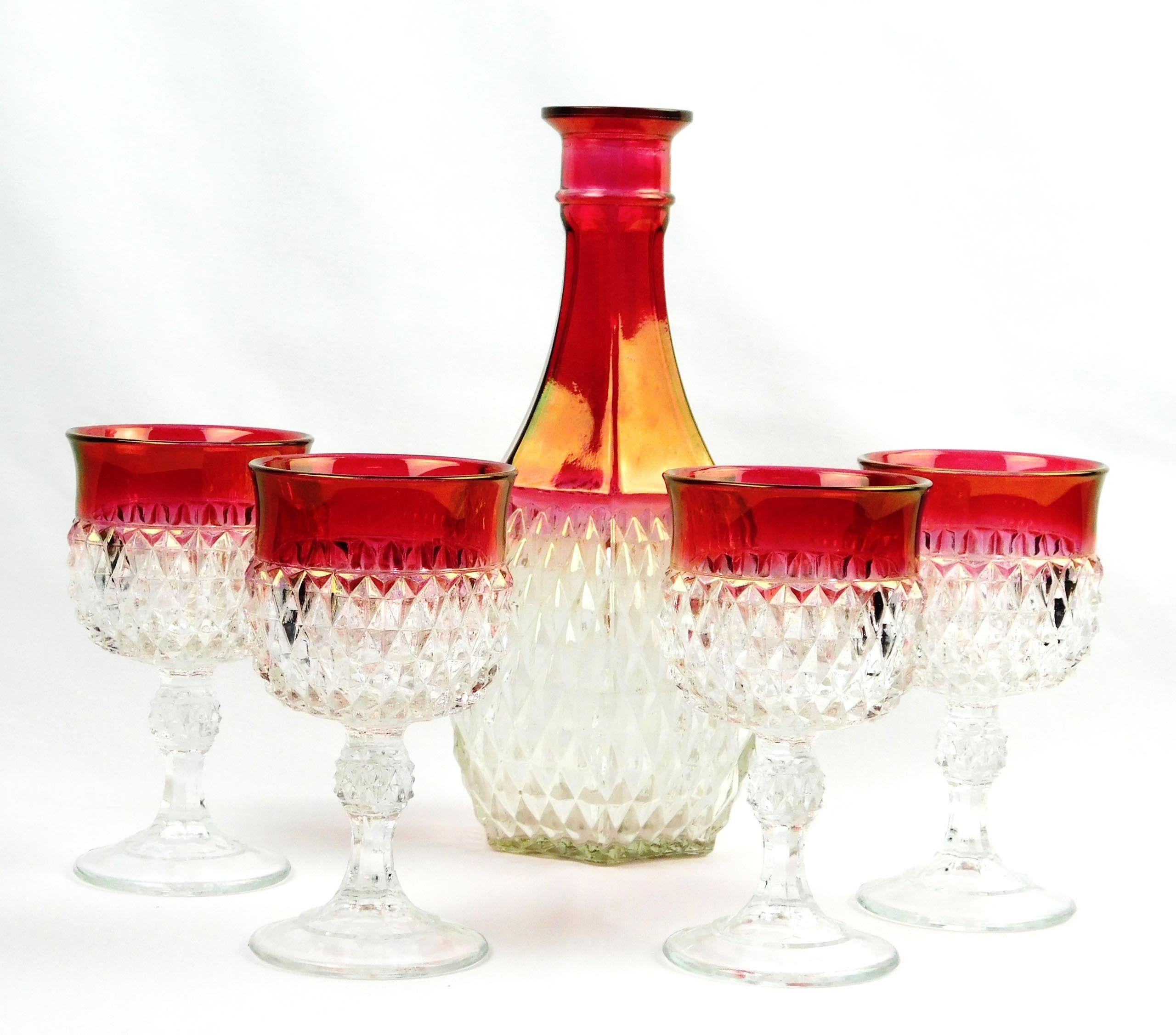 Indiana Glass Diamond Point Ruby Red Wine Decanter 4 Stem Wine Etsy In 2020 Red Wine Decanter Indiana Glass Wine Glasses