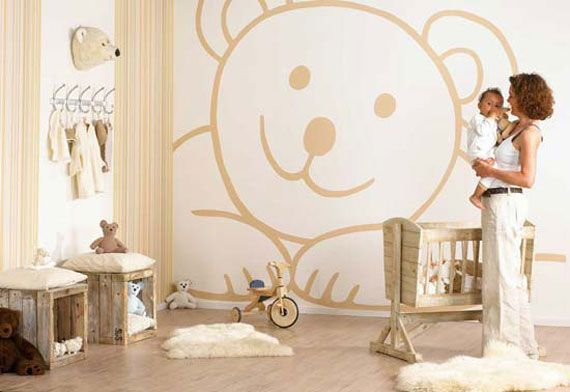 Wood baby girls room decor ideas wih teddy bear painting - http://homeides.com/wood-baby-girls-room-decor-ideas-wih-teddy-bear-painting/