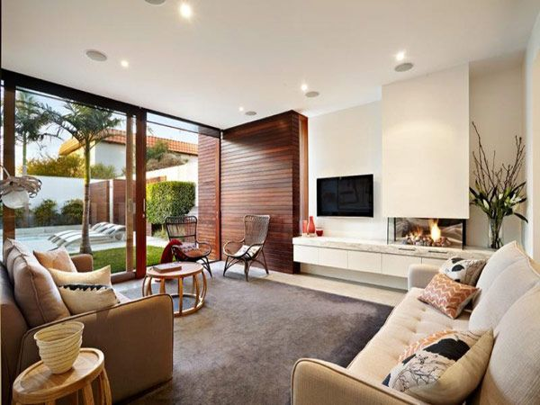 Modern Family Home In Australia Fireplace