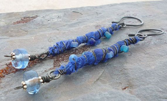 Calming Seas Blue Recycled Sari Silk and Wire by MiShelDesigns, $28.00