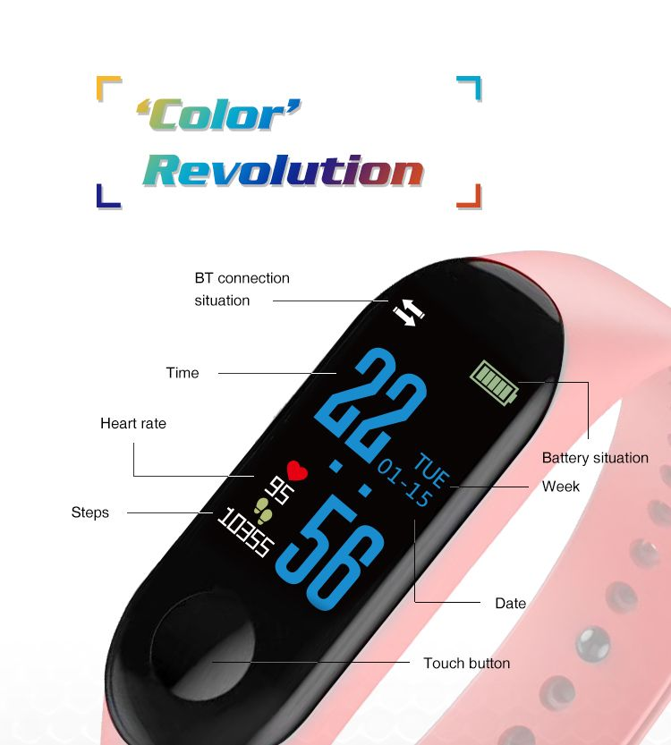bb6a11774 XANES MI3 0.96   TFT IP68 Waterproof Smart Bracelet Remote Camera Sleep  Blood Oxygen Monitor