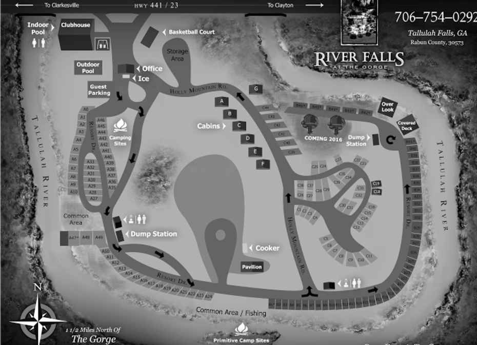 River Falls At The Gorge Site Map River Falls Camping Resort Gorges State Park
