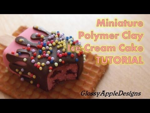 Polymer Clay Miniature Ice-Cream Cake Tutorial - YouTube