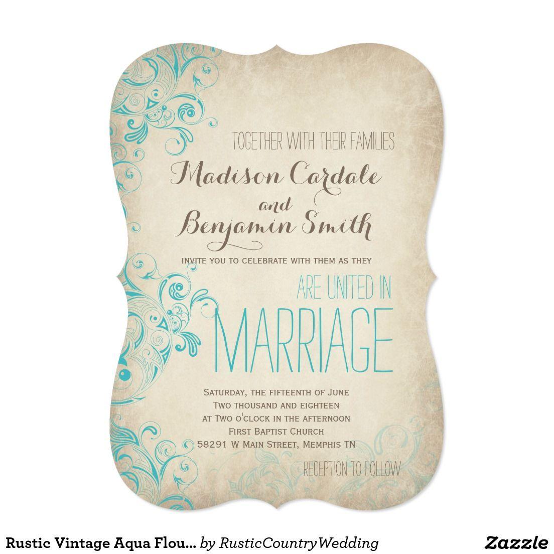 Rustic Vintage Aqua Flourish Wedding Invitations | Rustic, Vintage ...