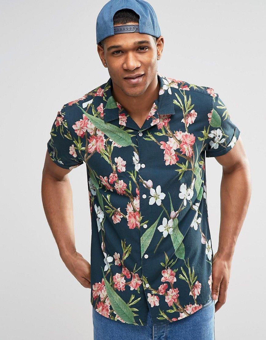 ASOS - Chemise manches courtes à fleurs coupe classique