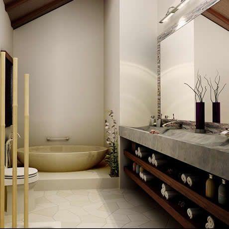 In geräumigen Bädern werden unsere Marmor Waschtische bevorzugt