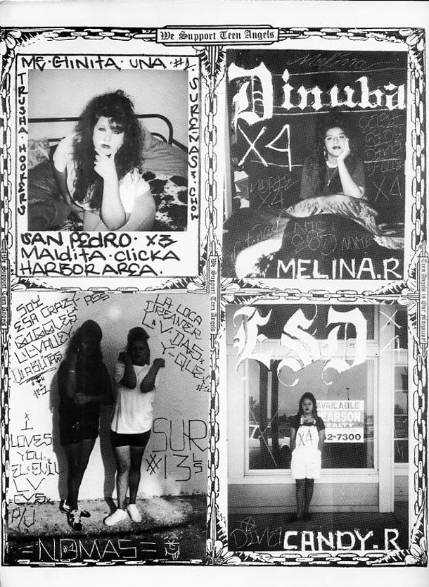 """Teen Angels magazine: """"The voice of thevarriosince 1979″. Made in Los Angeles, Teen Angels was first published in 1981 and featured Chicano gang graffiti, artwork, poetry, fashion, photographs of readers, obituaries and articles on topics like teen pregnancy and relationships. As mentioned by 12oz prophet, the later issues contain material like """"babies throwing gang signs,...  Read more »"""