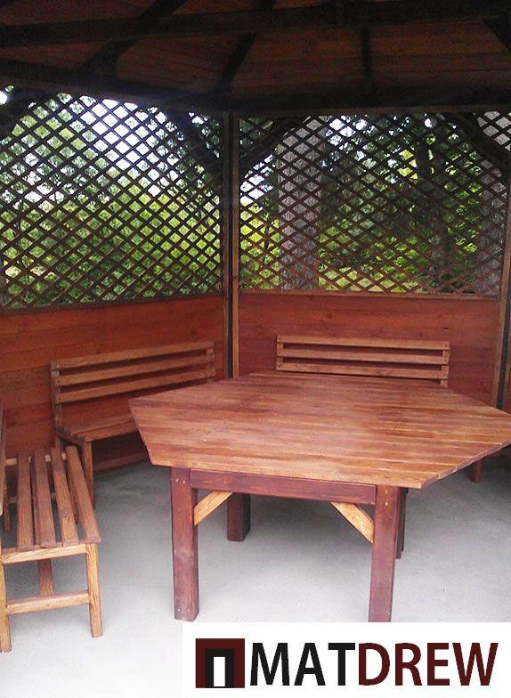 Drewniane Meble Ogrodowe Wnętrze Altanki Ogrodowej Na