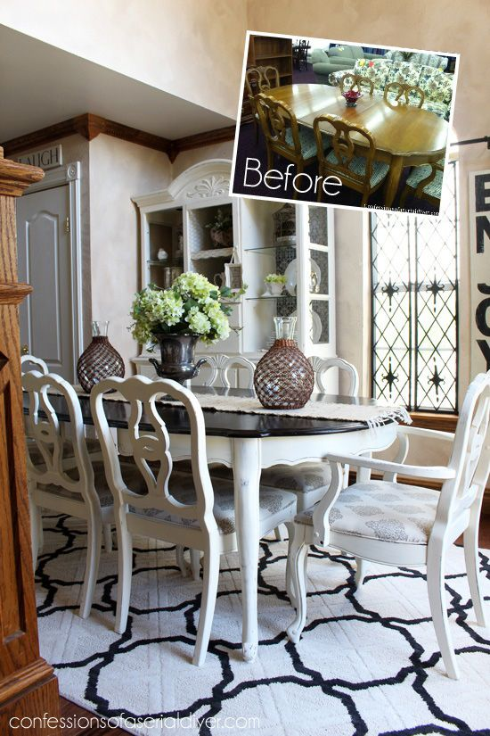 $85 Thrift Store Dining Set Makeover Confessions Of A Serial  Do It Yourselfer · Chalk Paint Dining TableWhite ...
