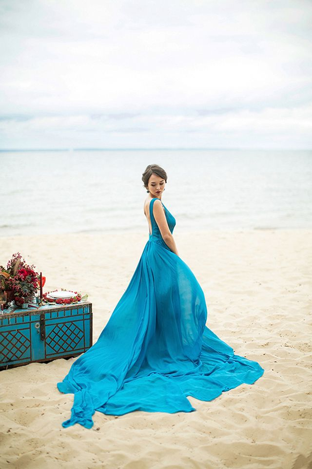 free as the wind beach wedding editorial | Blue wedding dresses ...