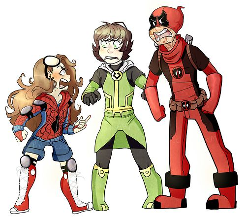 fem!kid!peter parker, kid!loki, and kid!deadpool | Art ...