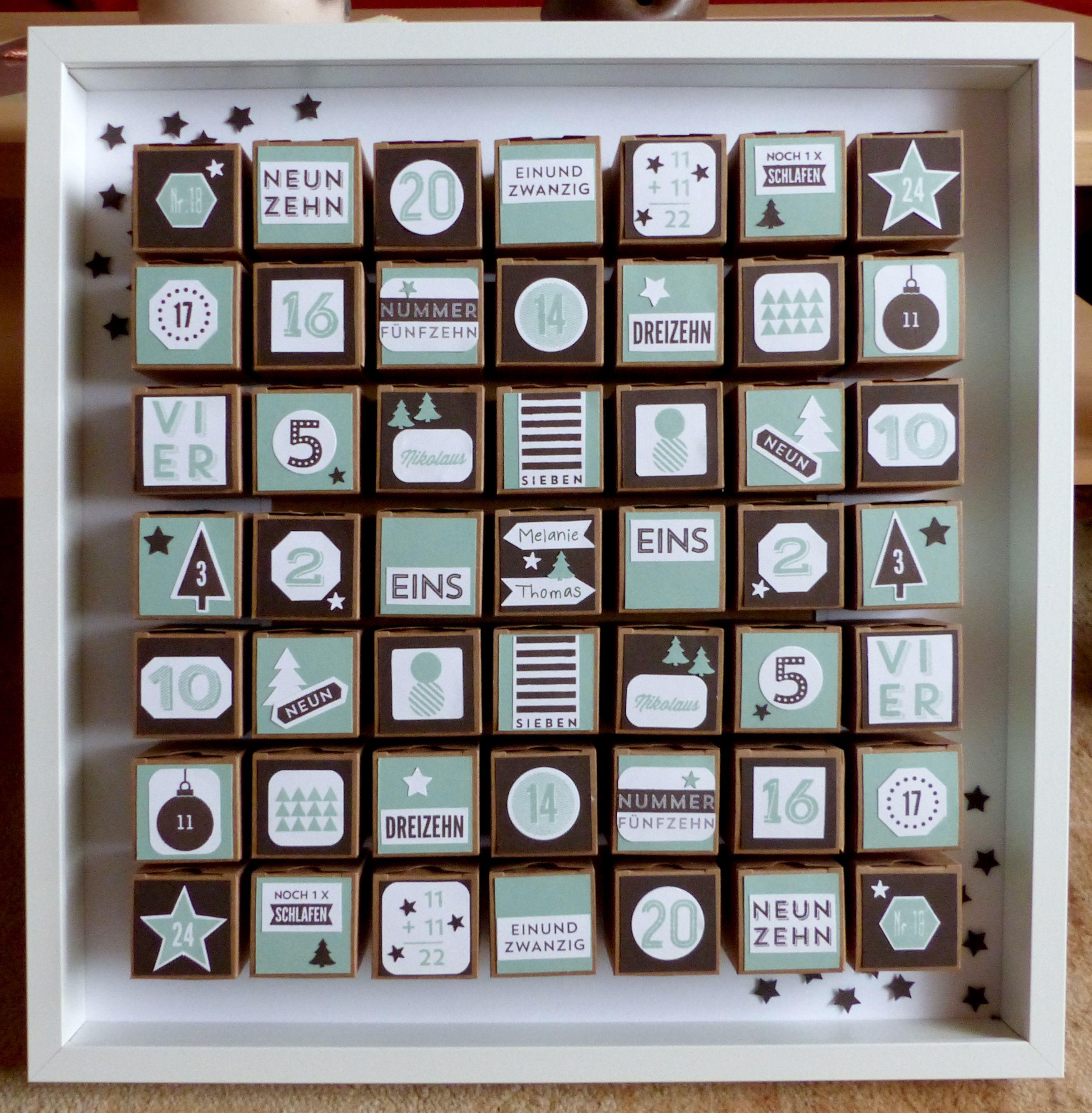 Adventkalender für zwei. Start ist in der Mitte - einer geht nach rechts und einer nach links.