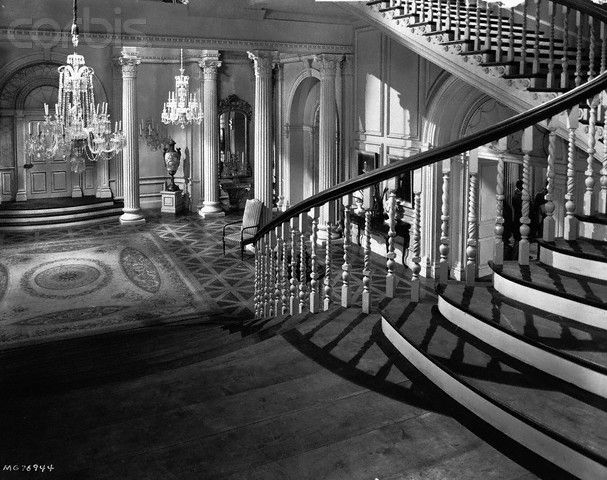 The Gone With The Wind set for the barbecue at Twelve Oaks where Rhett sees Scarlett on the stairs for the first time with her friend, Cathleen Calvert.