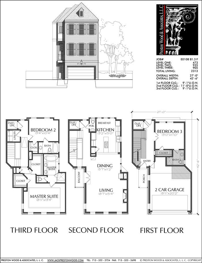 This townhome plan has 2313 square ft. of living space