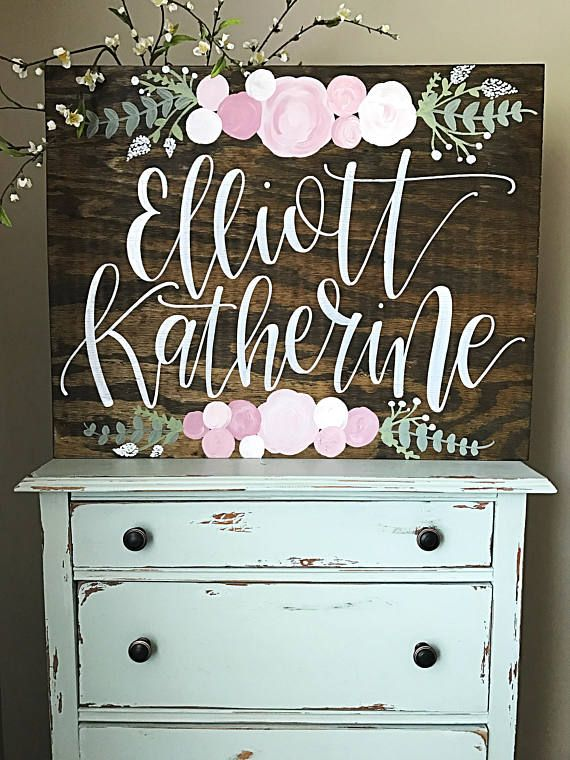 cec9d4418c8f8 Nursery Name Sign Girl Wood Nursery Sign Personalized Nursery Name ...