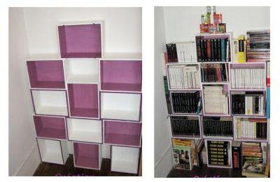 Une biblioth que en caisses de vin en bois biblioth que - Meuble avec caisse de vin en bois ...