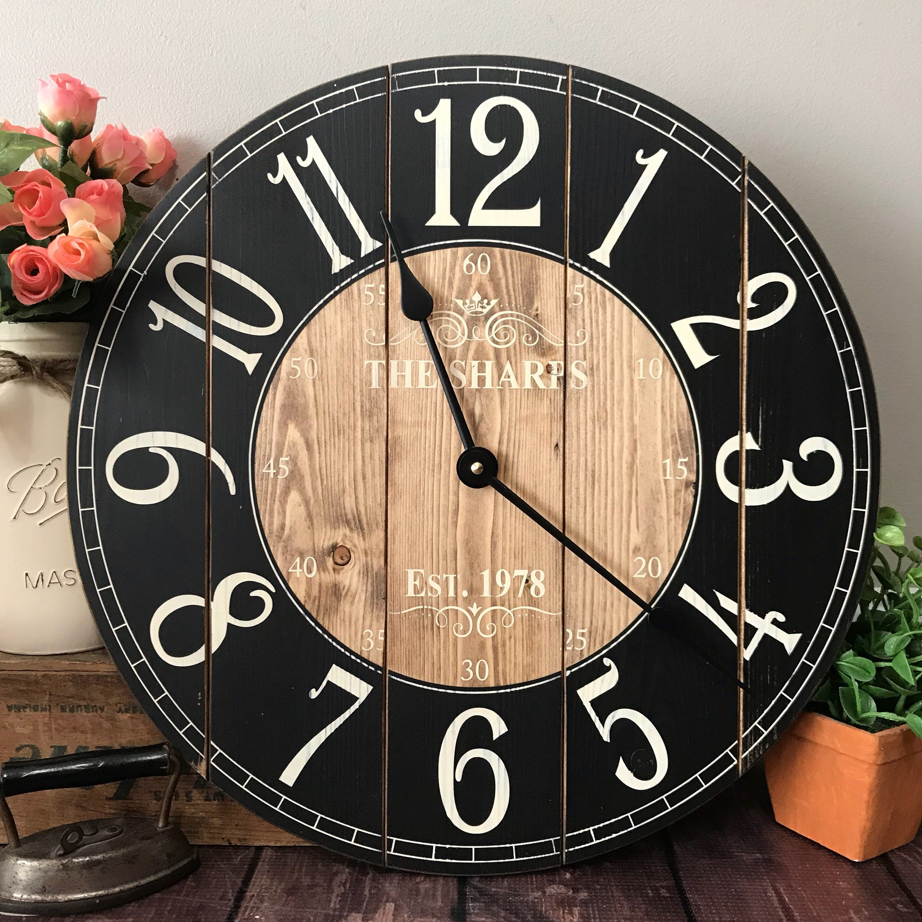16 Inch Wooden Farmhouse Clock Arabic Numbers Rustic Wall