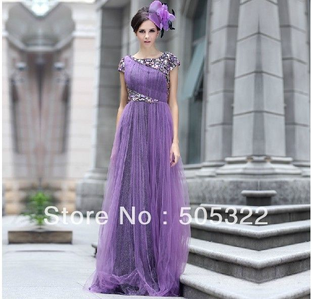 2014 HAUTE COUTURE EVENING DRESSES | ... sleeve purple tulle wedding dress crystal beaded evening dress 2014
