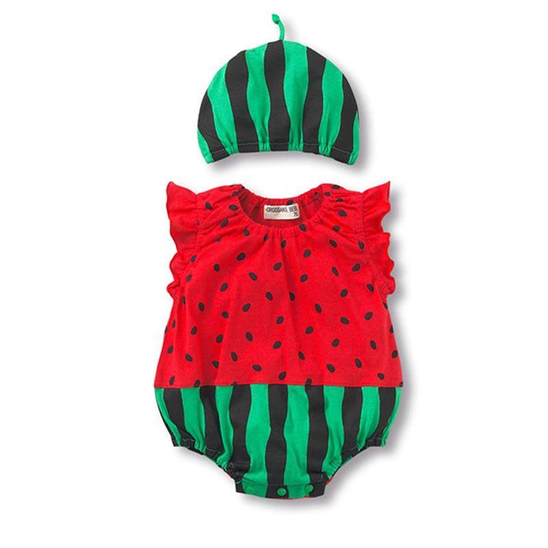 夏新生児ノースリーブ赤ちゃん の女の子ジャンプ スーツ服セット (ロンパース +帽子2 ピース)幼児赤ちゃん男の子の服赤ちゃん ロンパース