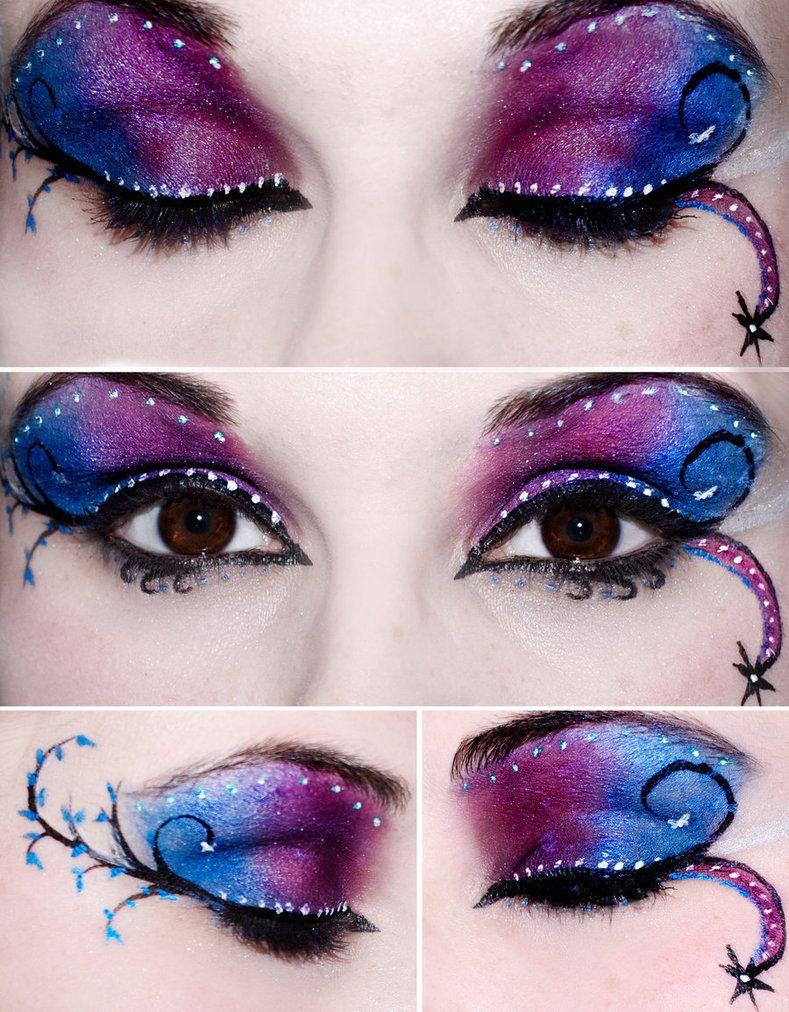 beautiful pink and blue dramatic eyeshadow for halloween   halloween