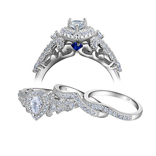 Newshe 3pcs 1 4ct White Cubic Zirconia 925 Sterling Silver Wedding Engagement Ring Set Size 7 Sterling Silver Wedding Rings Silver Wedding Rings Silver Ring Designs